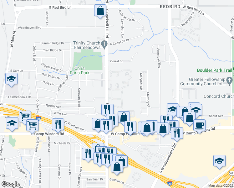 map of restaurants, bars, coffee shops, grocery stores, and more near 6800 S Cockrell Hill Rd in Dallas