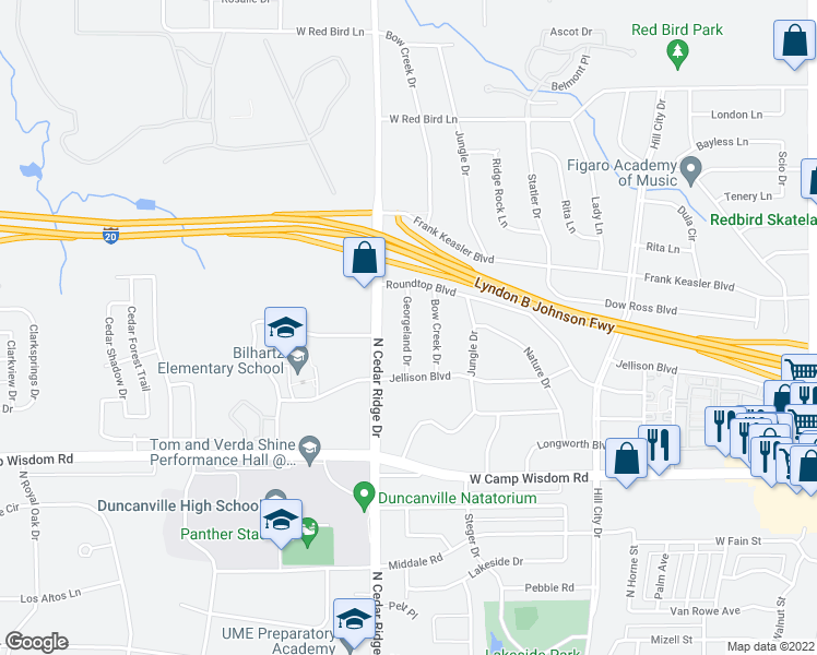 map of restaurants, bars, coffee shops, grocery stores, and more near Georgeland Drive in Duncanville