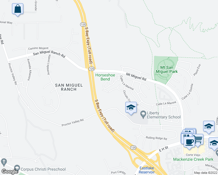map of restaurants, bars, coffee shops, grocery stores, and more near 2116 Cantata Drive in Chula Vista