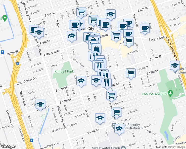 map of restaurants, bars, coffee shops, grocery stores, and more near 1516 G Avenue in National City