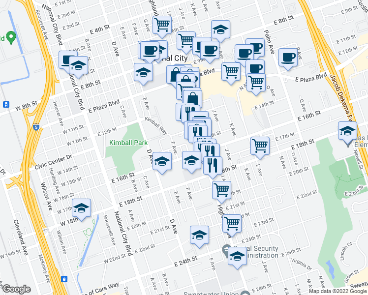 map of restaurants, bars, coffee shops, grocery stores, and more near 1506 G Avenue in National City
