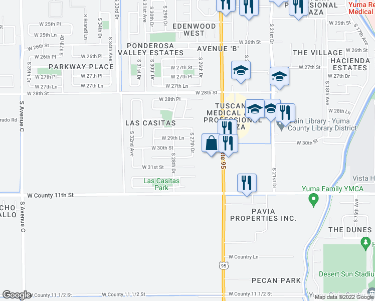 Street Map Of Yuma Arizona.2785 West 30th Street Yuma Az Walk Score
