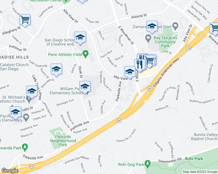 map of restaurants, bars, coffee shops, grocery stores, and more near 6654 Pinecone Lane in San Diego