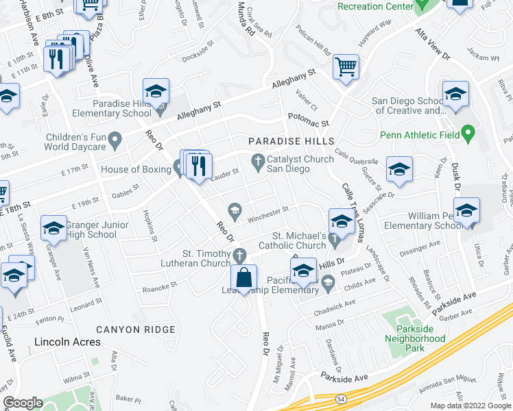 map of restaurants, bars, coffee shops, grocery stores, and more near 2449 Sea Breeze Drive in San Diego
