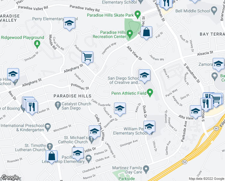 map of restaurants, bars, coffee shops, grocery stores, and more near 6302 Viewpoint Drive in San Diego