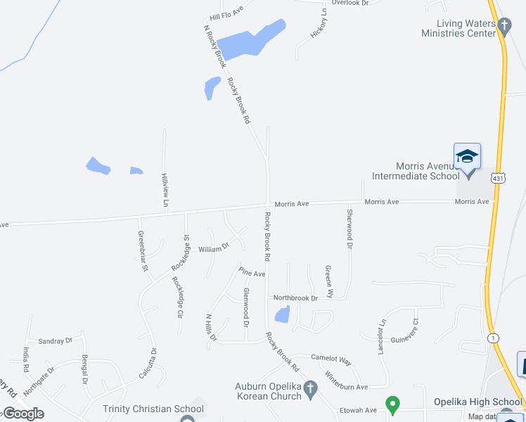 map of restaurants, bars, coffee shops, grocery stores, and more near 819 Morris Avenue in Opelika