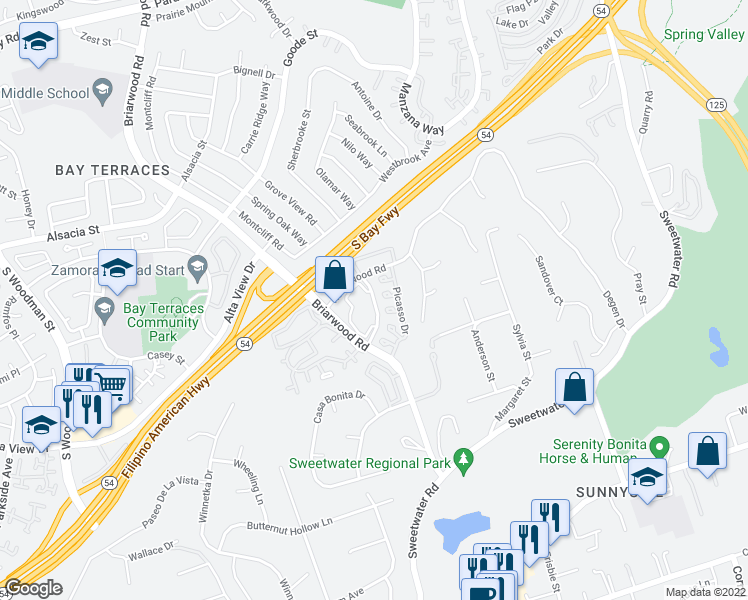 map of restaurants, bars, coffee shops, grocery stores, and more near 5155 Cedarwood Rd in San Diego