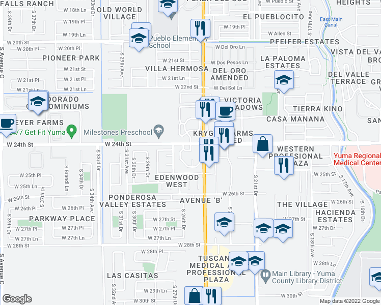 Street Map Of Yuma Arizona.2575 West 24th Street Yuma Az Walk Score