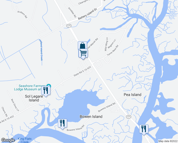 map of restaurants, bars, coffee shops, grocery stores, and more near 111 Crozet Drive in Charleston