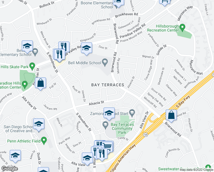 map of restaurants, bars, coffee shops, grocery stores, and more near 7303 Latrobe Cir in San Diego
