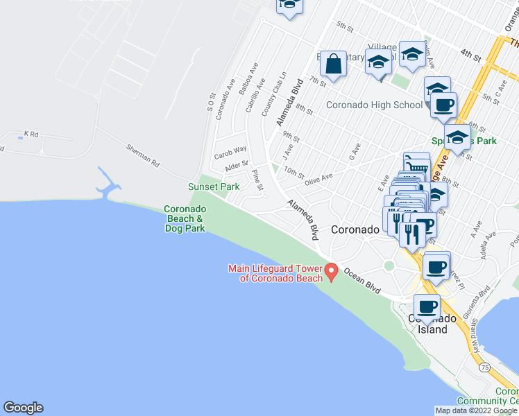 map of restaurants, bars, coffee shops, grocery stores, and more near 511 Marina Avenue in Coronado