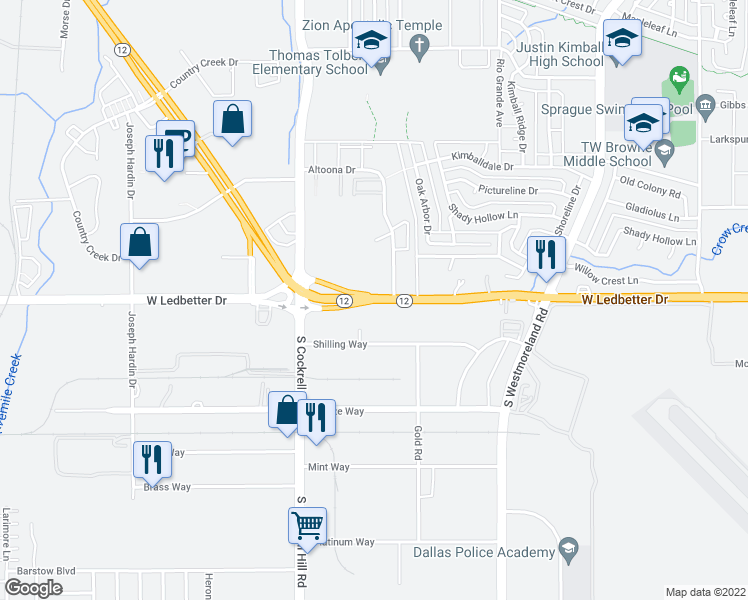 map of restaurants, bars, coffee shops, grocery stores, and more near Walton Walker Blvd & W Ledbetter Dr in Dallas