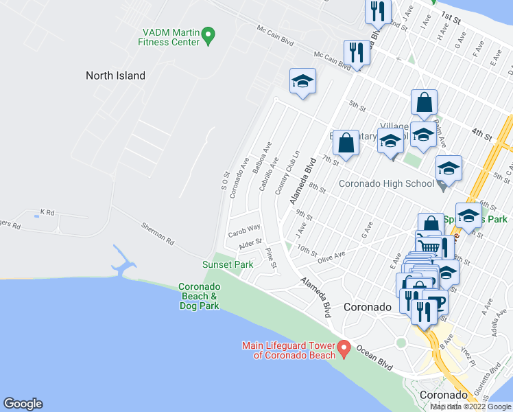 map of restaurants, bars, coffee shops, grocery stores, and more near 151 Acacia Way in Coronado