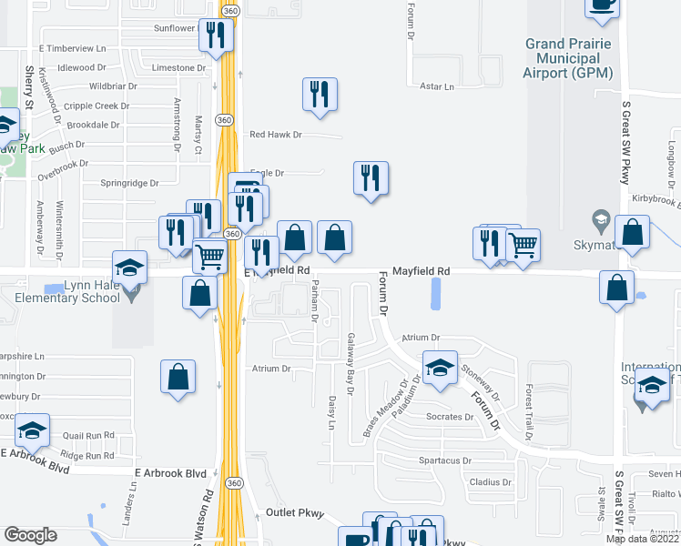 map of restaurants, bars, coffee shops, grocery stores, and more near 3301 Galaway Bay Drive in Grand Prairie