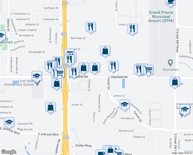 map of restaurants, bars, coffee shops, grocery stores, and more near 3305 Galaway Bay Drive in Grand Prairie
