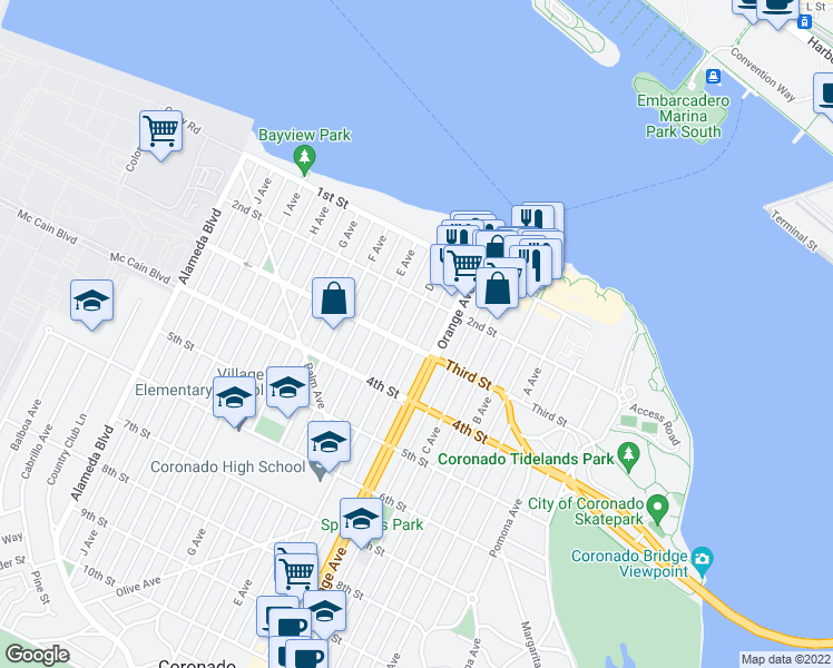 map of restaurants, bars, coffee shops, grocery stores, and more near 263 D Avenue in Coronado