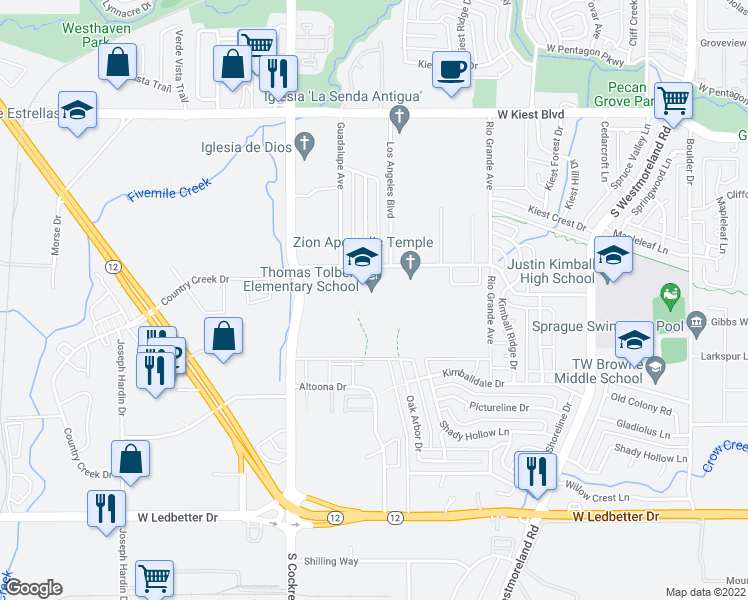 map of restaurants, bars, coffee shops, grocery stores, and more near 4000 Blue Ridge Boulevard in Dallas