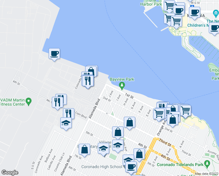 map of restaurants, bars, coffee shops, grocery stores, and more near 318 1st Street in Coronado