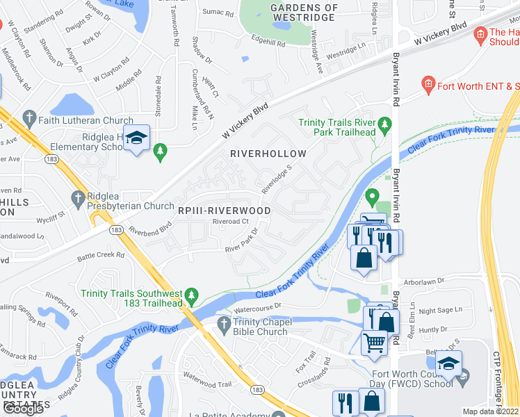 map of restaurants, bars, coffee shops, grocery stores, and more near 3320 Riveroad Court in Fort Worth