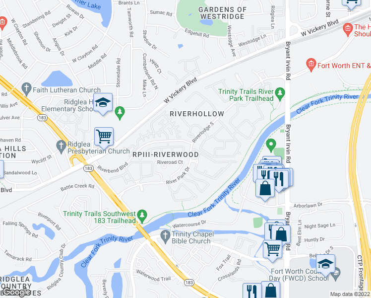 map of restaurants, bars, coffee shops, grocery stores, and more near Riverbend Boulevard in Fort Worth