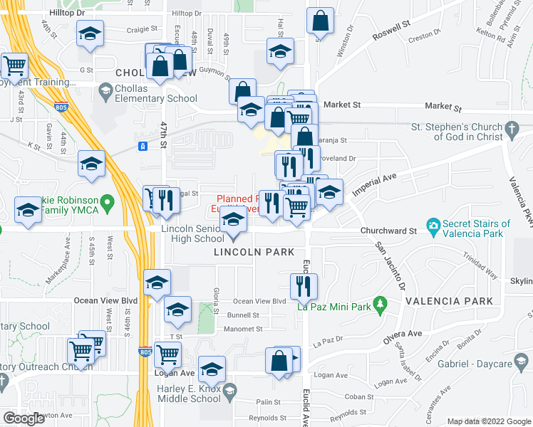 map of restaurants, bars, coffee shops, grocery stores, and more near 120 50th Street in San Diego