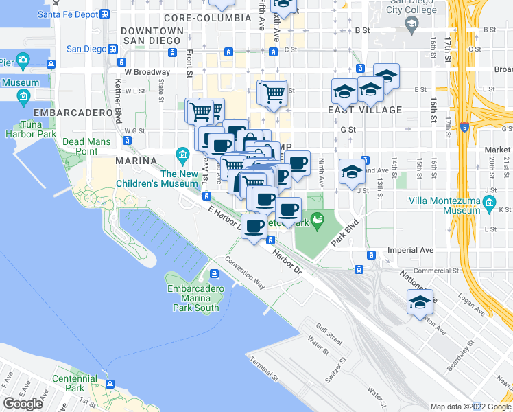 map of restaurants, bars, coffee shops, grocery stores, and more near 340 Fifth Avenue in San Diego