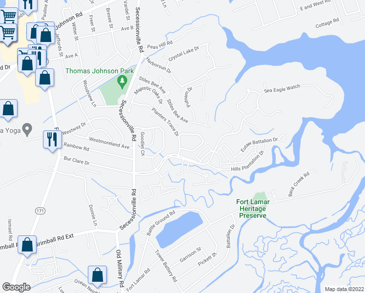 map of restaurants, bars, coffee shops, grocery stores, and more near 408 Planters Trace Drive in Charleston