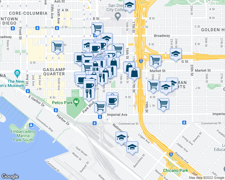 map of restaurants, bars, coffee shops, grocery stores, and more near 1402 K Street in San Diego