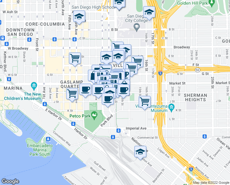 map of restaurants, bars, coffee shops, grocery stores, and more near Park Boulevard & Island Avenue in San Diego