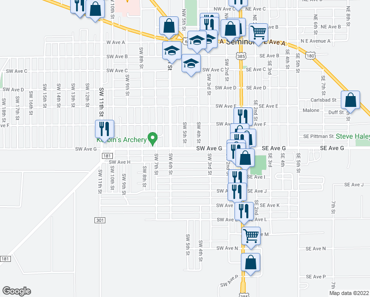 map of restaurants, bars, coffee shops, grocery stores, and more near Southwest 5th Street in Seminole