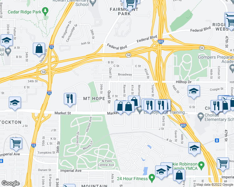 map of restaurants, bars, coffee shops, grocery stores, and more near 815 40th St in San Diego
