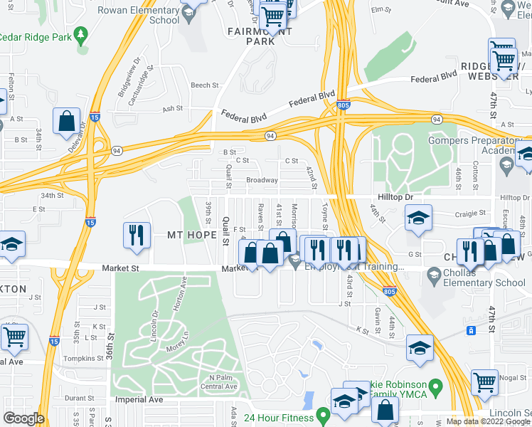 map of restaurants, bars, coffee shops, grocery stores, and more near 841 Raven Street in San Diego