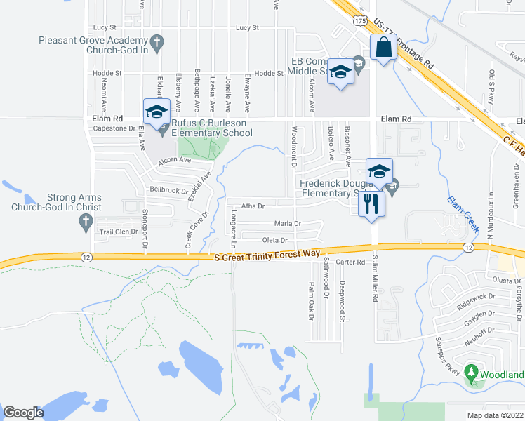 map of restaurants, bars, coffee shops, grocery stores, and more near 6610 Atha Drive in Dallas
