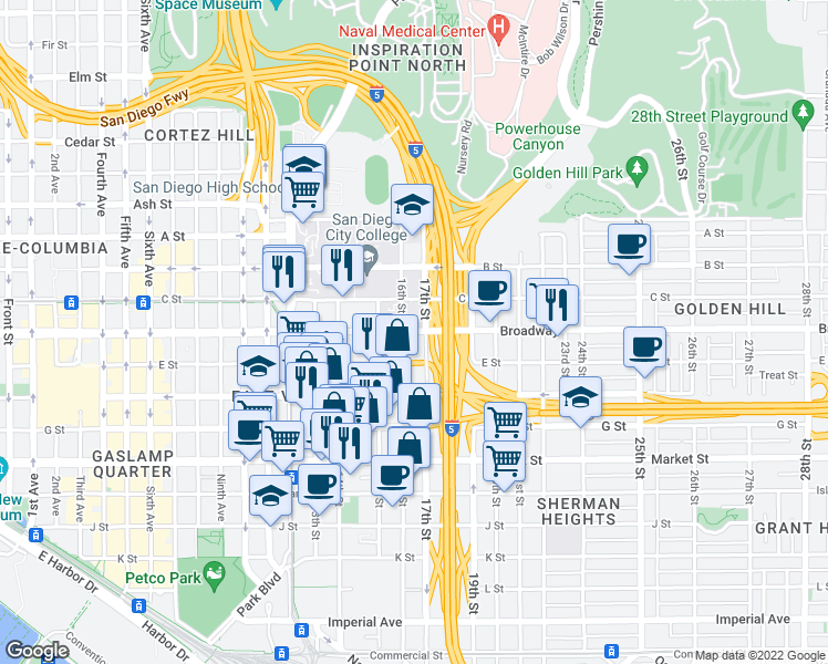 map of restaurants, bars, coffee shops, grocery stores, and more near 1601 Broadway in San Diego