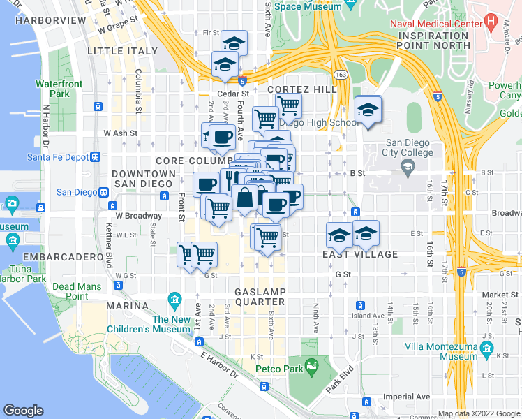 map of restaurants, bars, coffee shops, grocery stores, and more near 427 C Street in San Diego