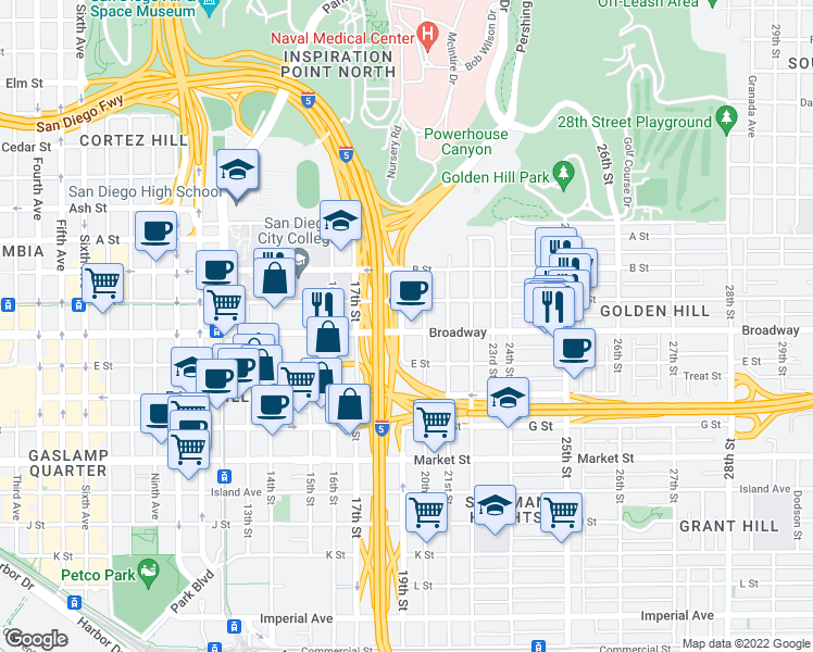 map of restaurants, bars, coffee shops, grocery stores, and more near 1015 19th Street in San Diego