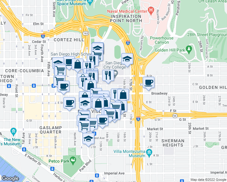 map of restaurants, bars, coffee shops, grocery stores, and more near 1480 Broadway in San Diego