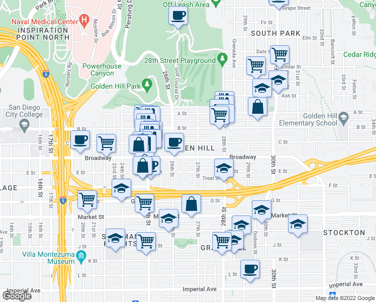 map of restaurants, bars, coffee shops, grocery stores, and more near 2658 Broadway in San Diego