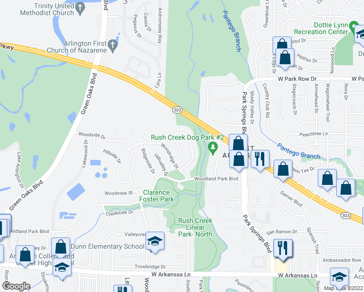 map of restaurants, bars, coffee shops, grocery stores, and more near 1810 Southpark Drive in Arlington