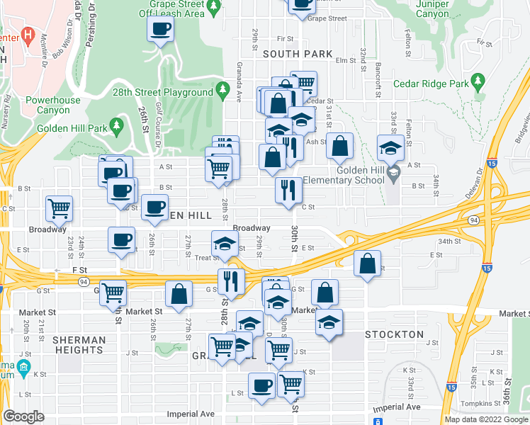 map of restaurants, bars, coffee shops, grocery stores, and more near 2911 C Street in San Diego