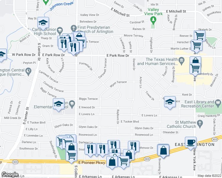 map of restaurants, bars, coffee shops, grocery stores, and more near 1506 Biggs Terrace in Arlington