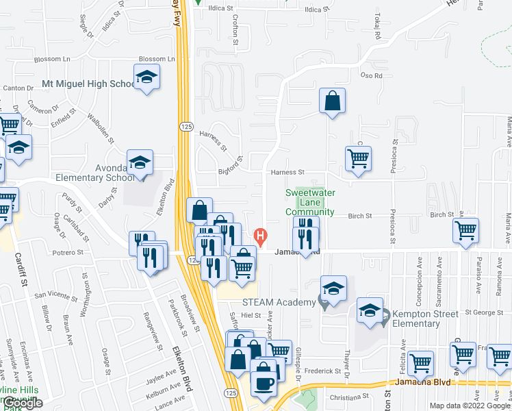 map of restaurants, bars, coffee shops, grocery stores, and more near 8768 Jamacha Road in Spring Valley