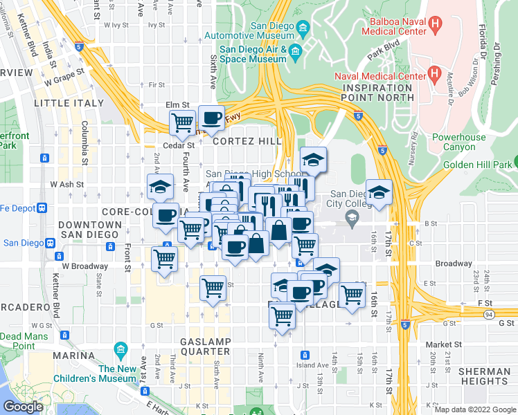 map of restaurants, bars, coffee shops, grocery stores, and more near None in San Diego
