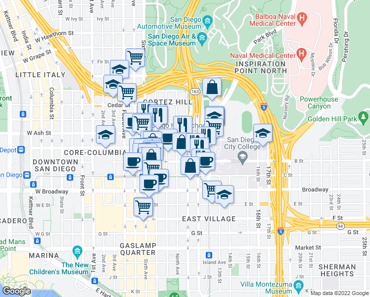 map of restaurants, bars, coffee shops, grocery stores, and more near 1281 9th Avenue #112 in San Diego