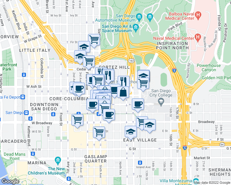 map of restaurants, bars, coffee shops, grocery stores, and more near 1333 Eighth Avenue in San Diego