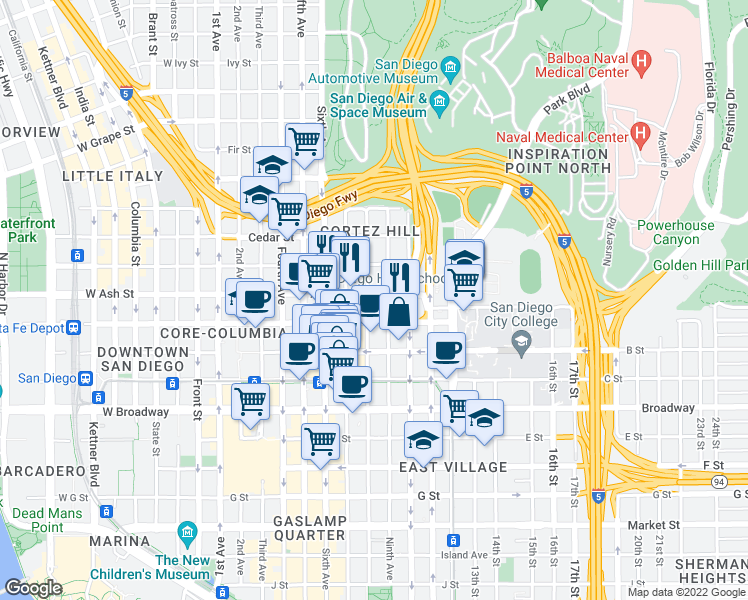 map of restaurants, bars, coffee shops, grocery stores, and more near 801 Ash Street in San Diego