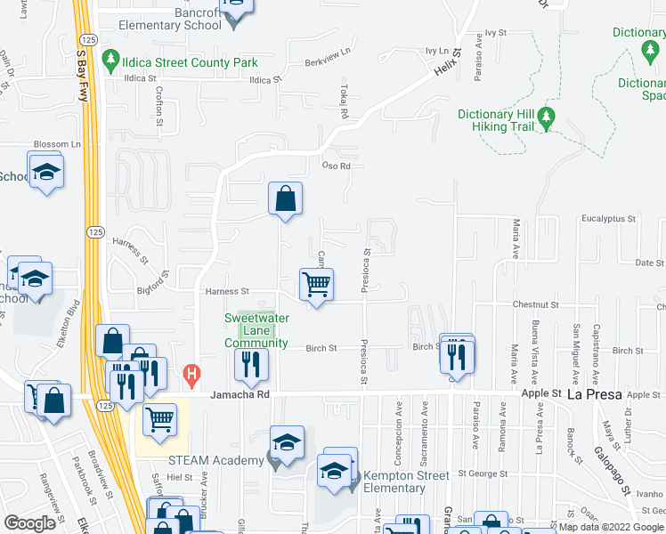 map of restaurants, bars, coffee shops, grocery stores, and more near 1605 Canyon Road in Spring Valley