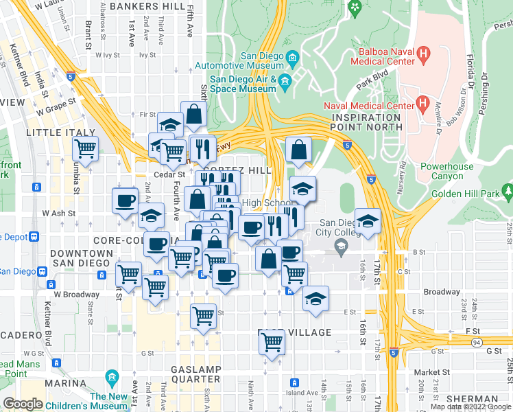 map of restaurants, bars, coffee shops, grocery stores, and more near 1441 Ninth Avenue in San Diego