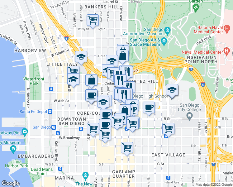 map of restaurants, bars, coffee shops, grocery stores, and more near 1465 4th Avenue in San Diego