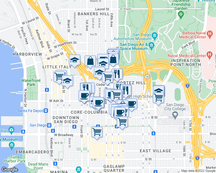 map of restaurants, bars, coffee shops, grocery stores, and more near 1551 Fourth Avenue in San Diego